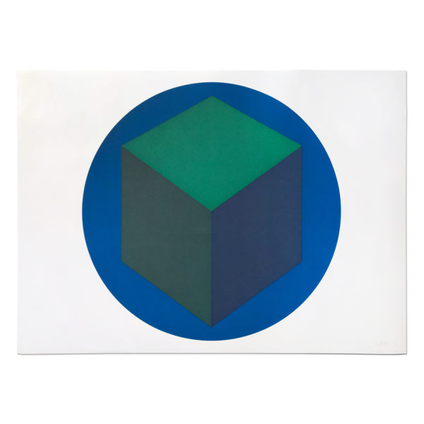 Sol Lewitt, Centered Cube within a Blue Circle