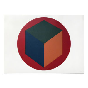 Sol Lewitt, Centered Cube within a Red Circle